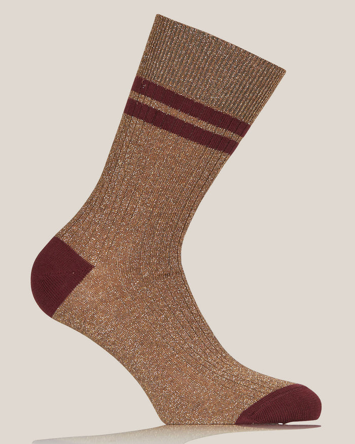 Beige Lurex Flat Ribbed Socks