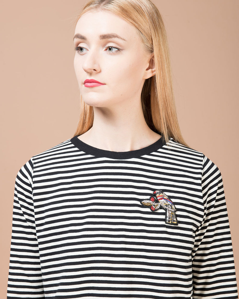 Beige and Black Stripes Sleeve T-Shirt