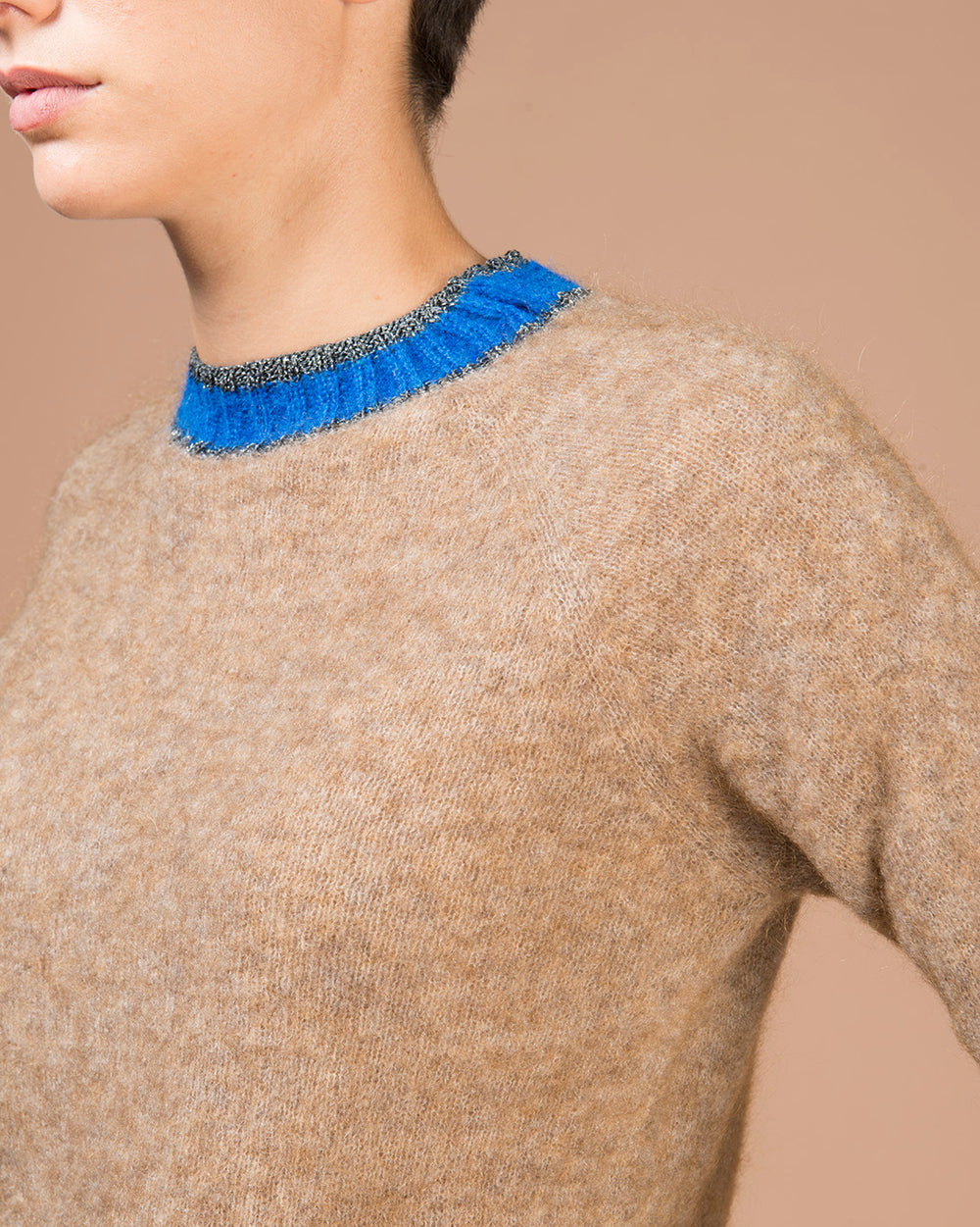 Beige Contrast Collar Sweater