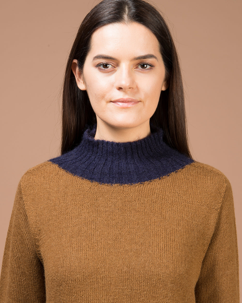 Beige Contrast Turtleneck Sweater