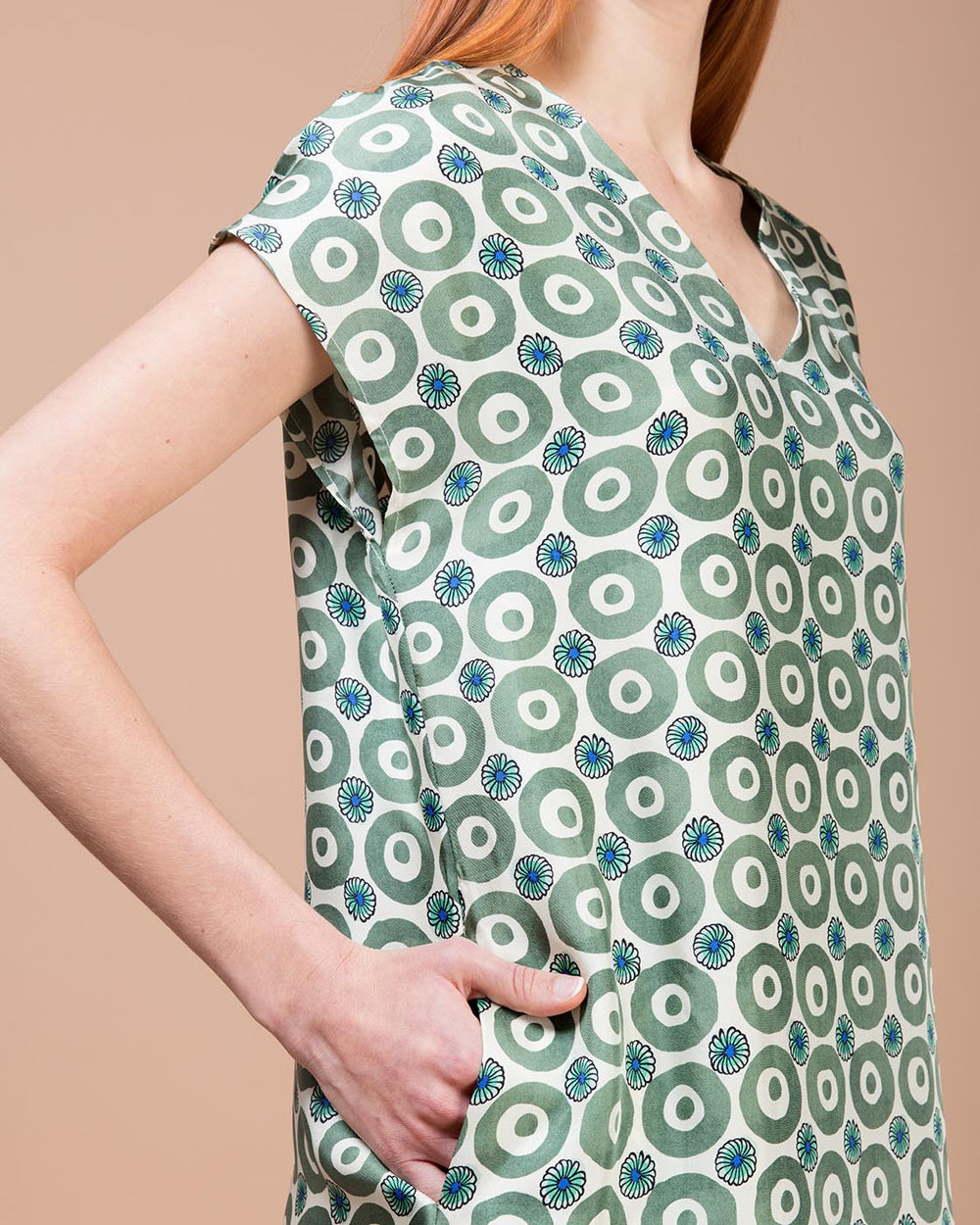 Beige & Green Printed Silk Midi Dress