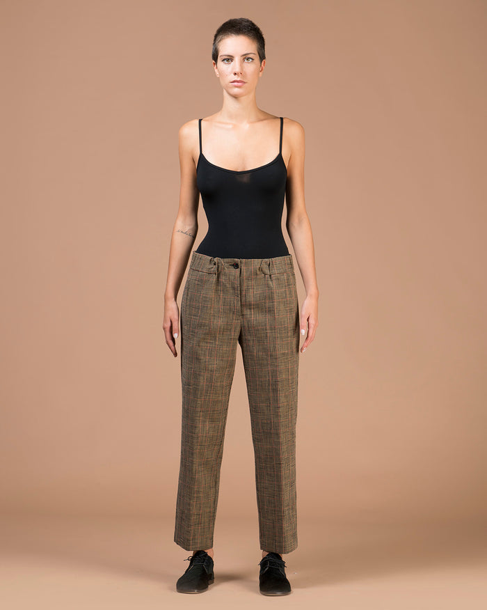 Beige 'Prince of Wales' Wide Pants