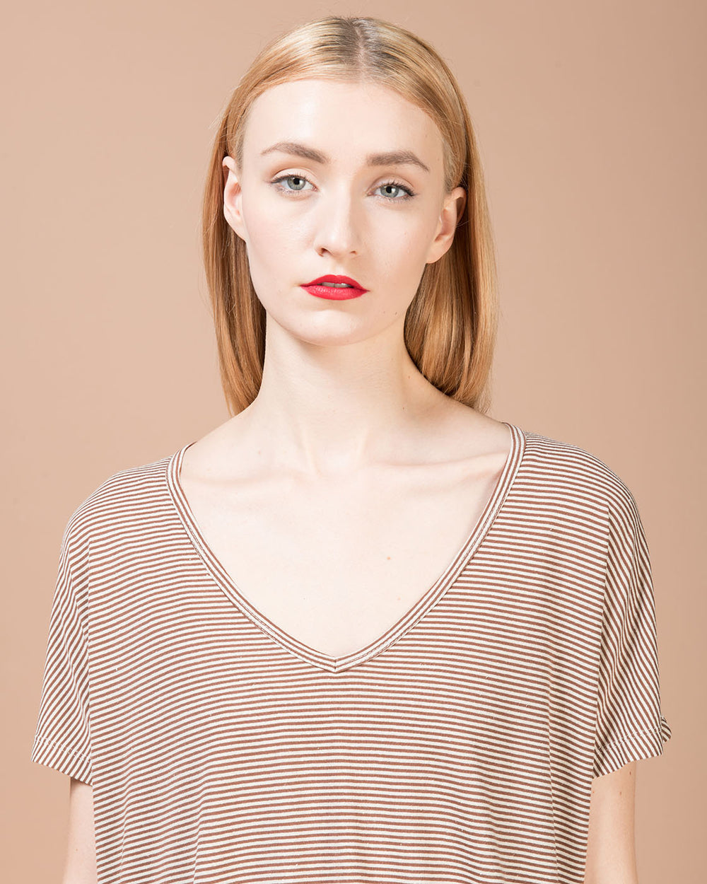 Beige & Taupe Striped Silk T-Shirt