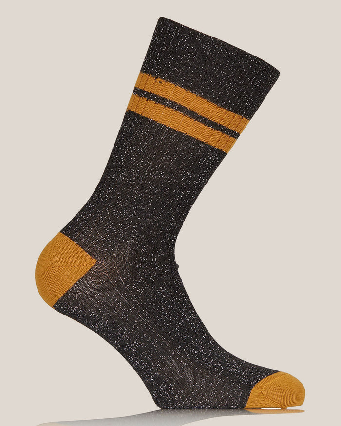 Black and Beige Lurex Flat Ribbed Socks