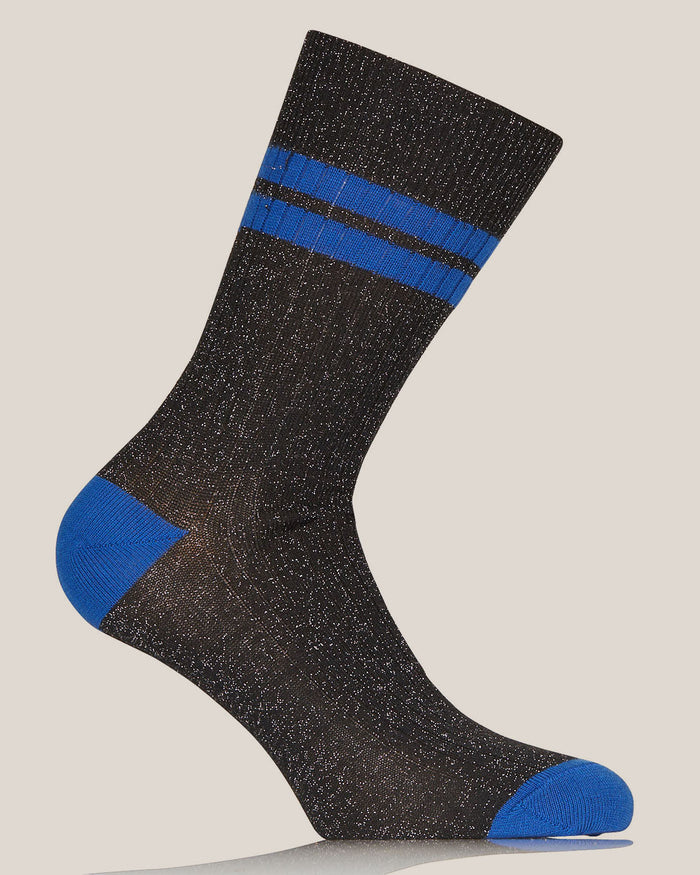 Black and Blue Lurex Flat Ribbed Socks