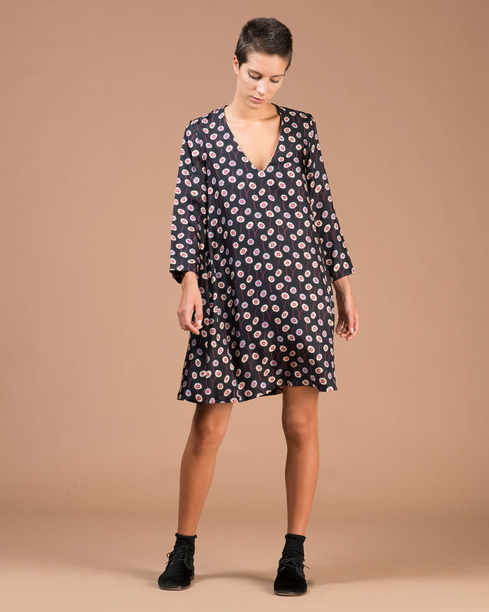 Black Floral Printed Silk Balloon Dress
