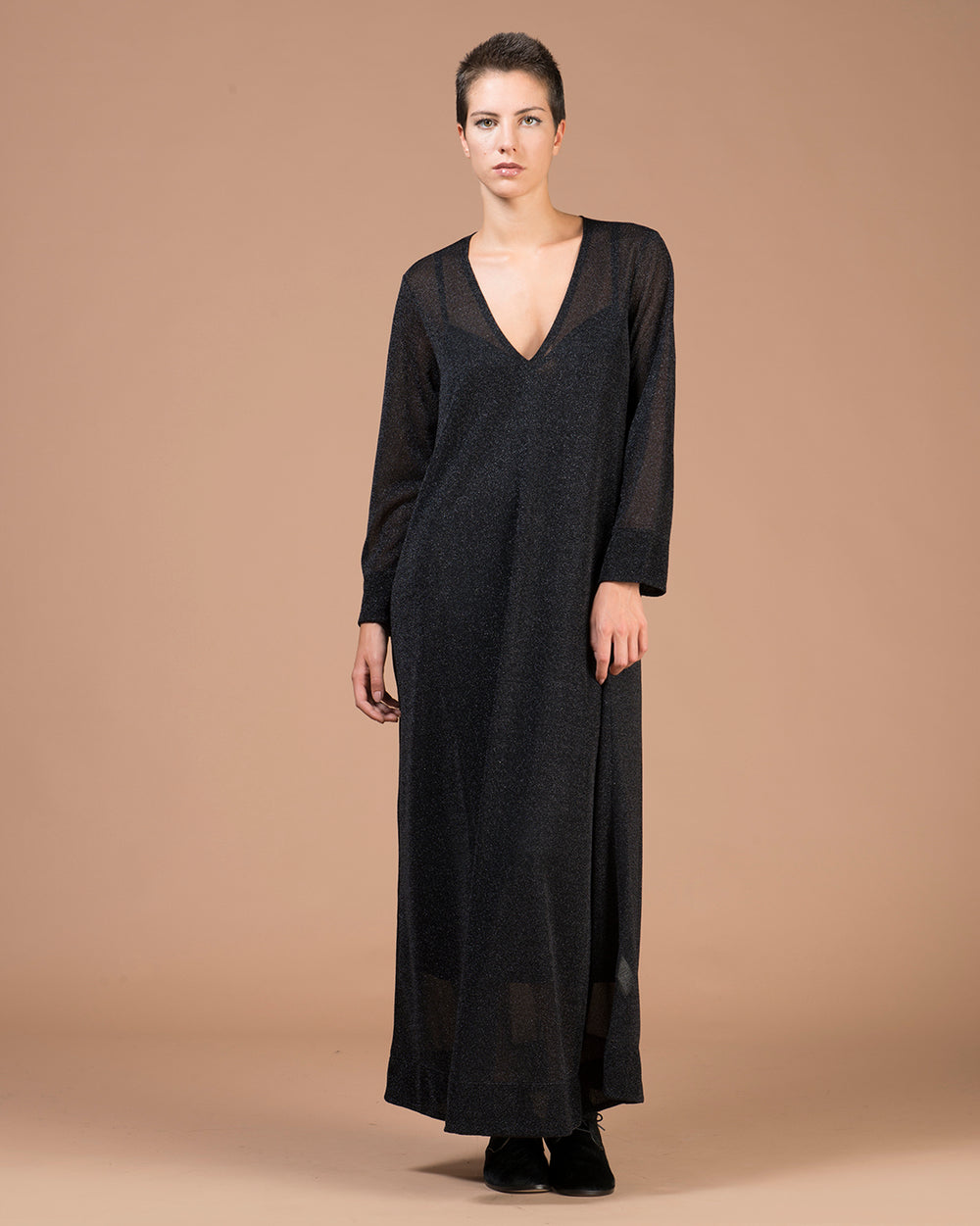 Black Lurex A-line Long Dress