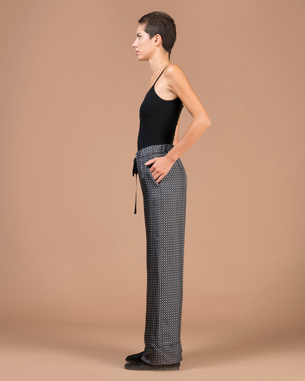 Black Silk Wide-Leg Pants with a Micro Printed Pattern