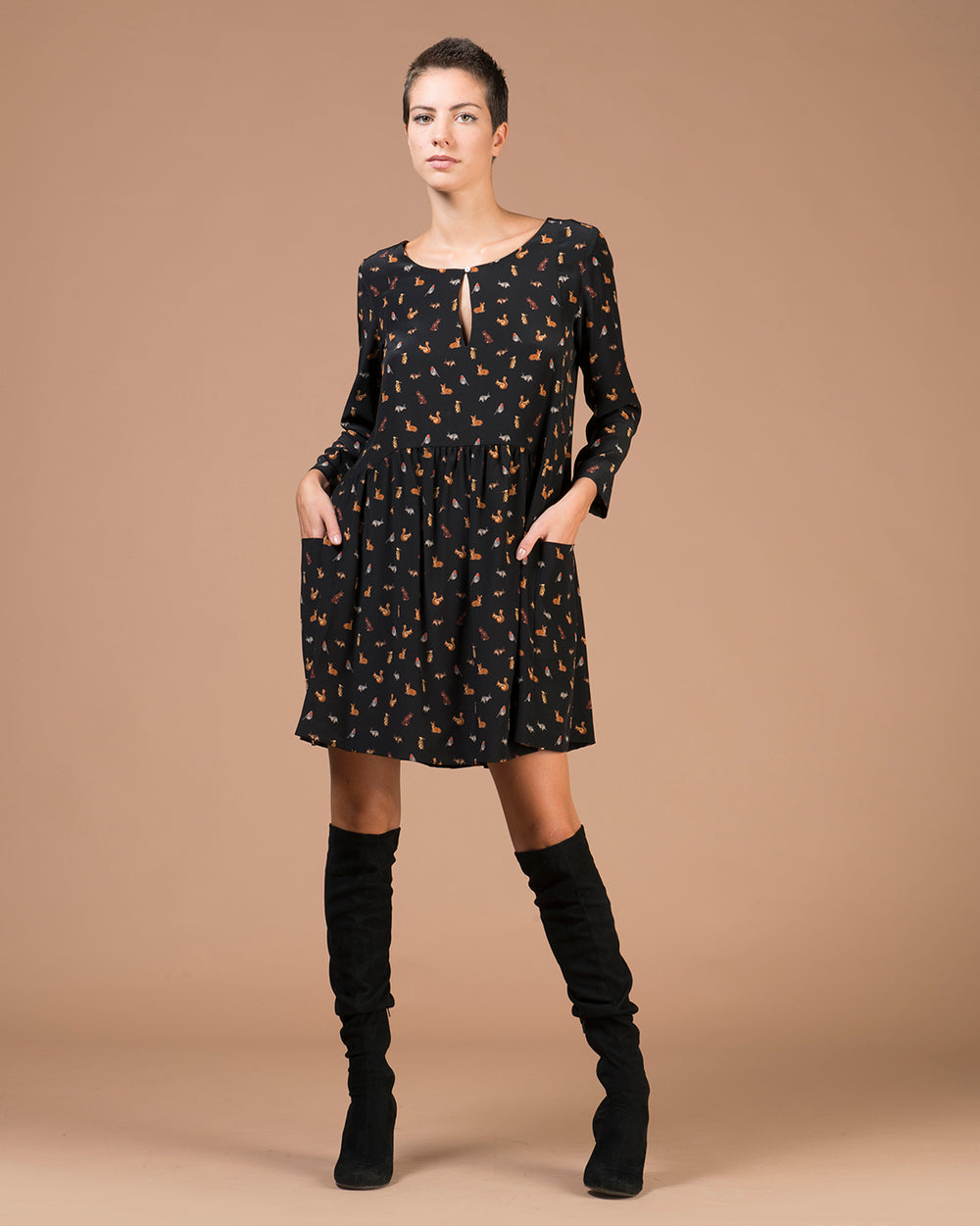 Black Forest Animal Printed Silk Dress