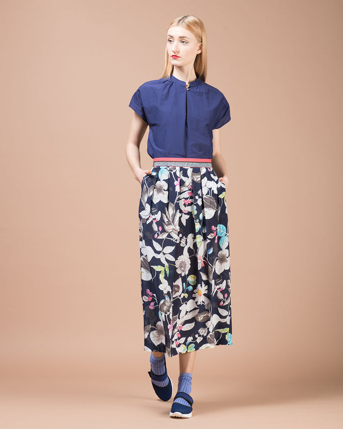 Blue Floral Printed Silk Long Skirt