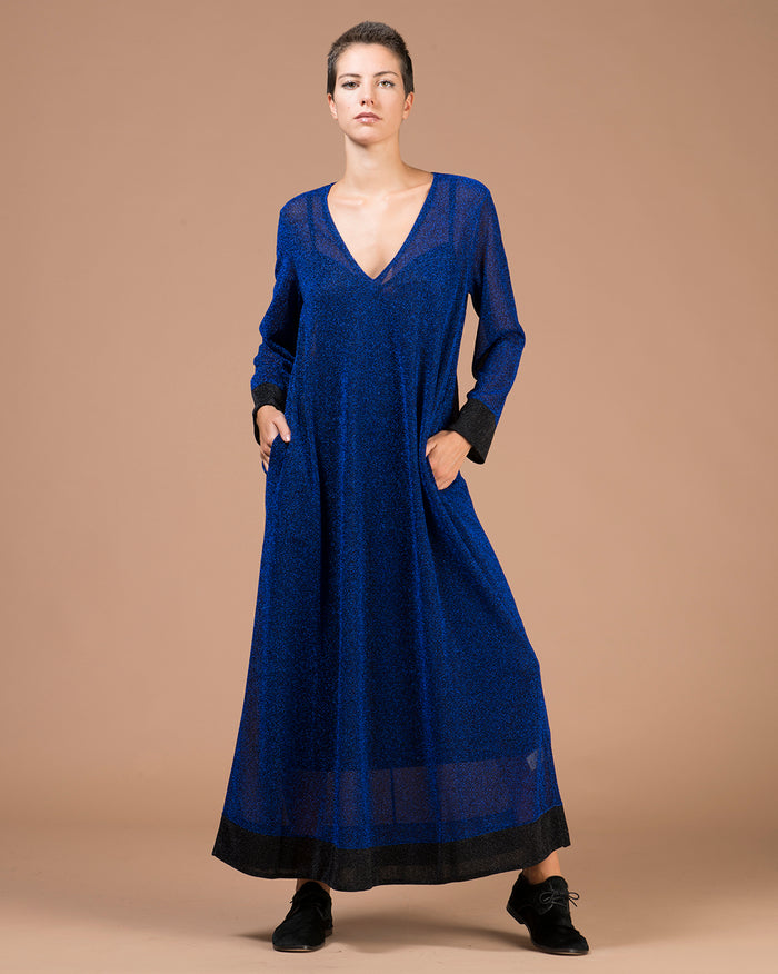 Blue Lurex A-line Long Dress