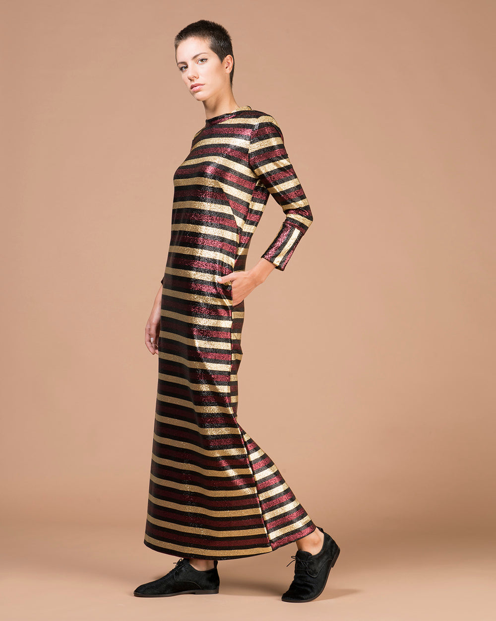 Bordeaux Striped Lurex Long Dress