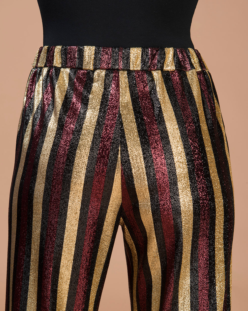 Bordeaux Striped Lurex Wide-Leg Pants