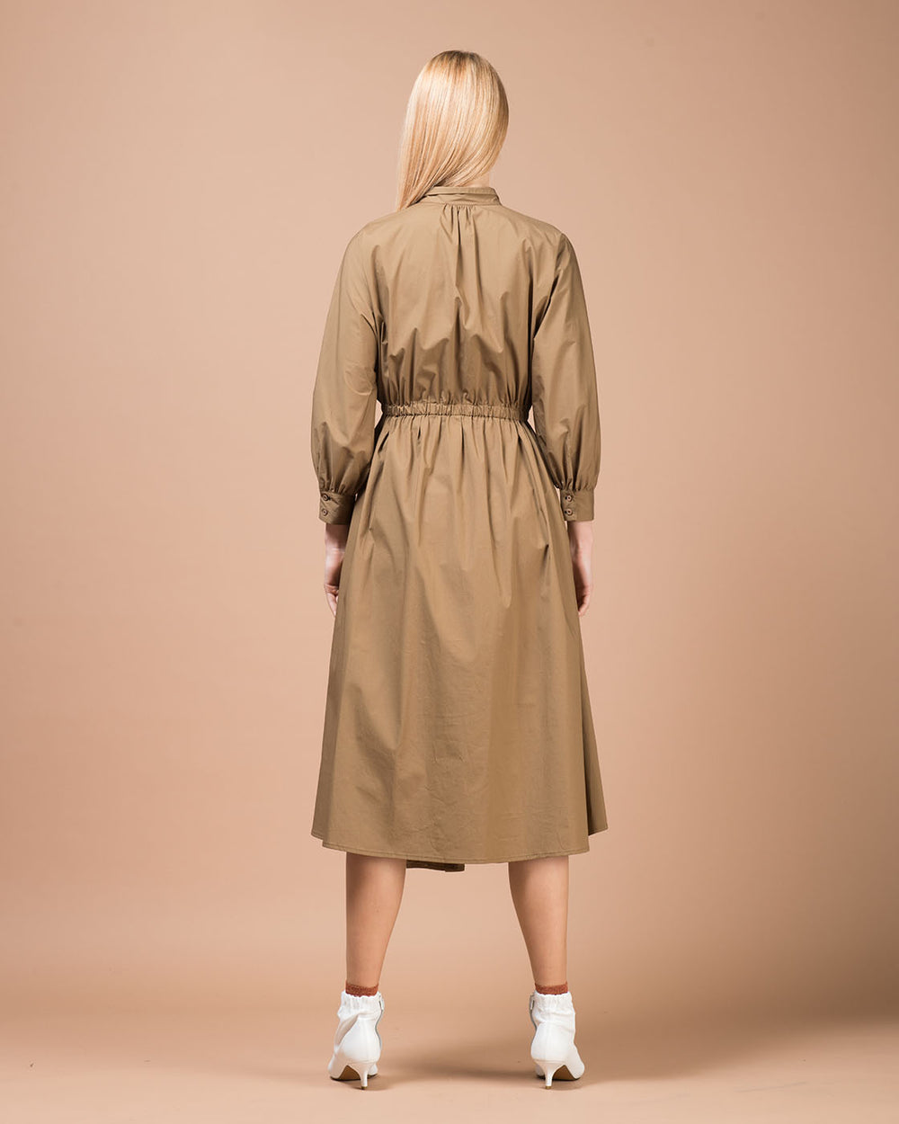 Brown Stretch Cotton Long Dress