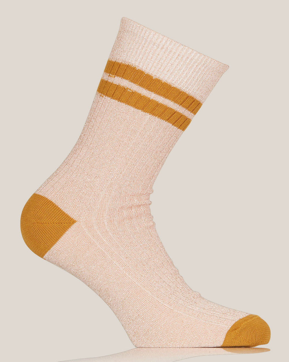 Cipria and Orange Lurex Flat Ribbed Socks