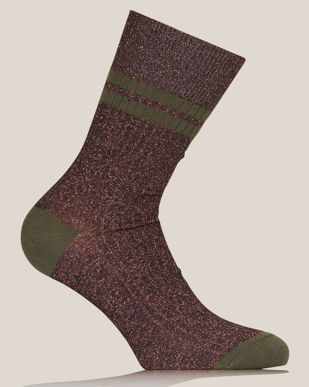 Copper and Green Lurex Flat Ribbed Socks