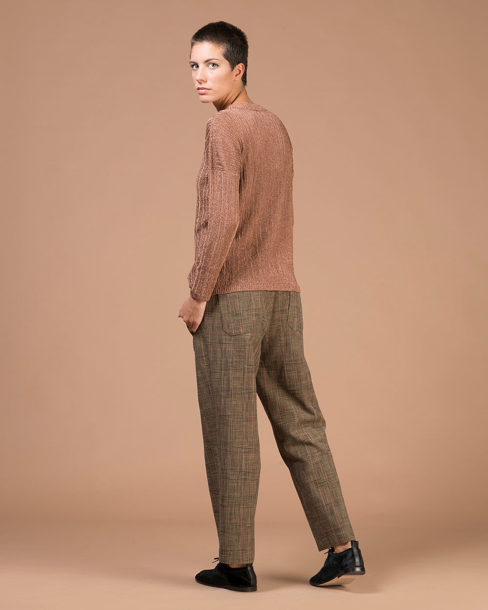 Copper Ribbed Boatneck Sweater