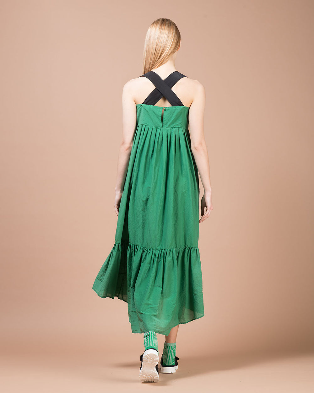 Green Contrast Shoulder Strap Long Dress