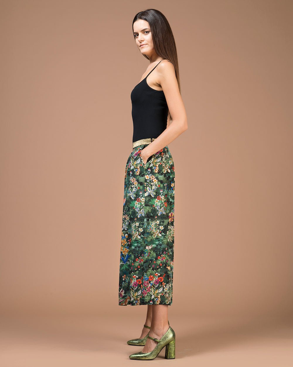 Green Floral Printed Silk Long Skirt