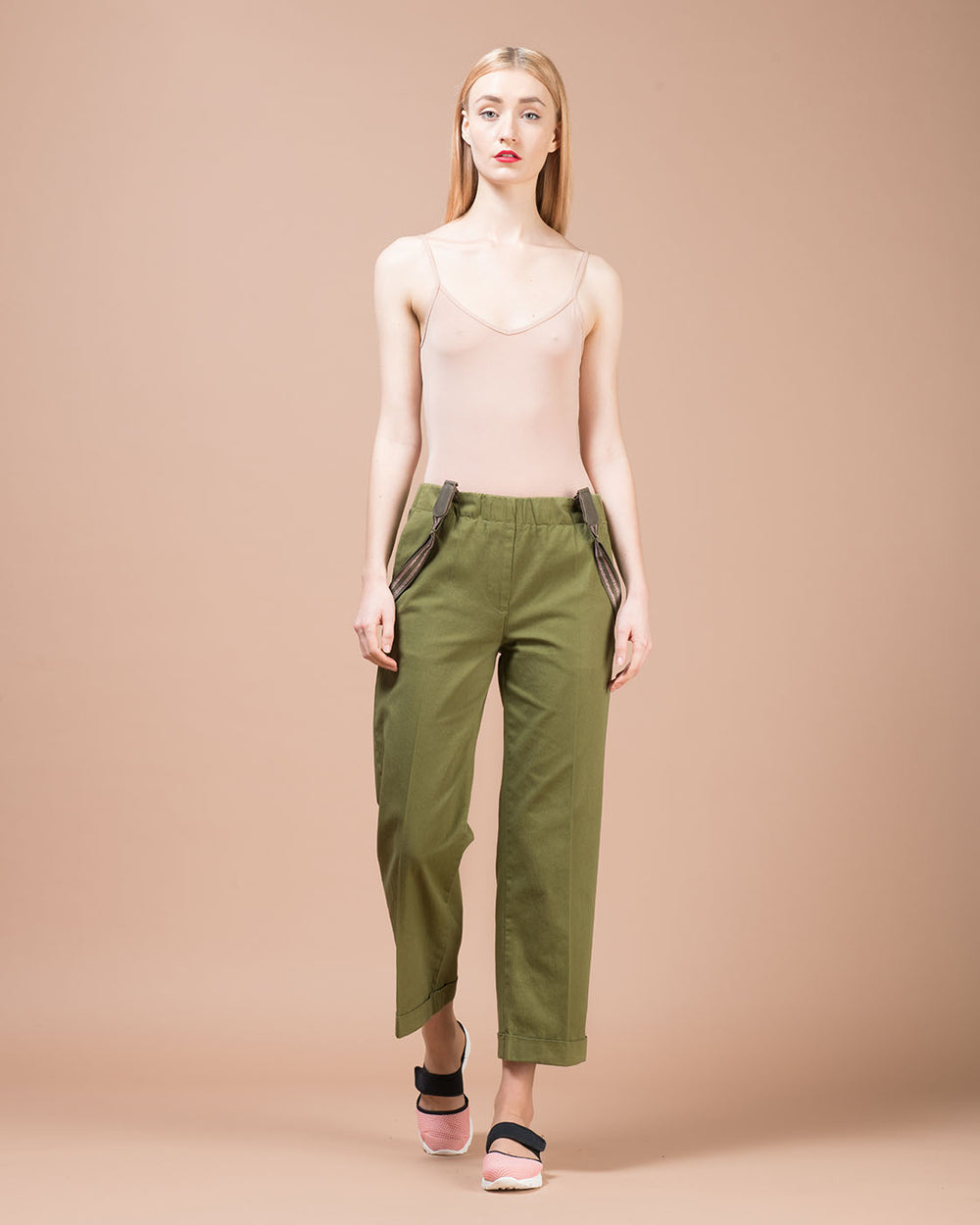Green Gabardine Straight Pants