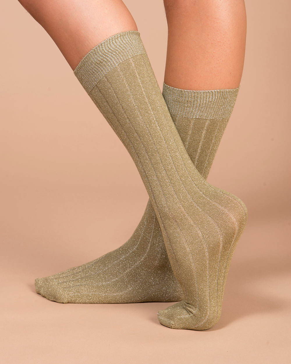 Green Lurex Flat Ribbed Socks