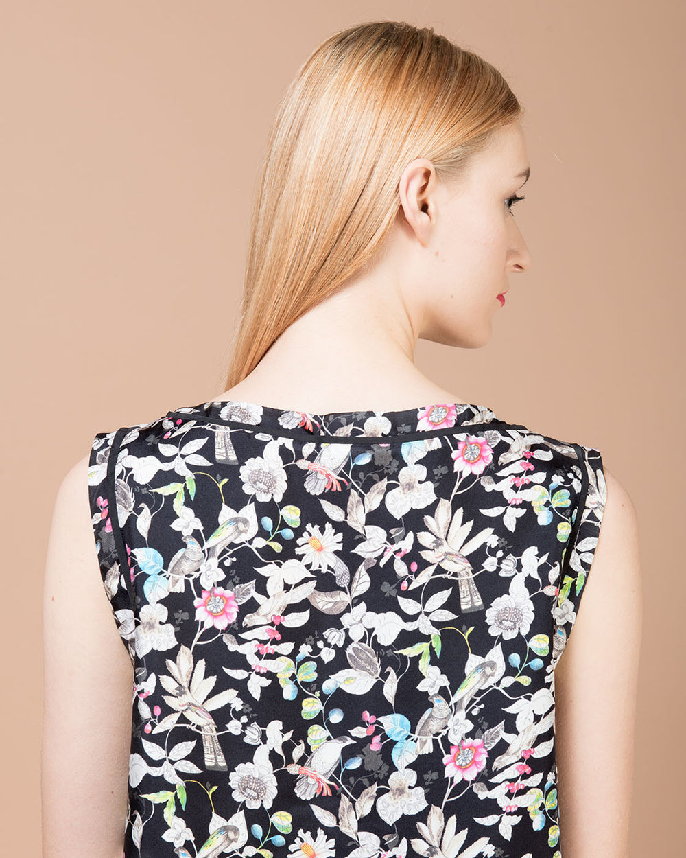 Multicolor Floral Printed Silk Sleeveless Top