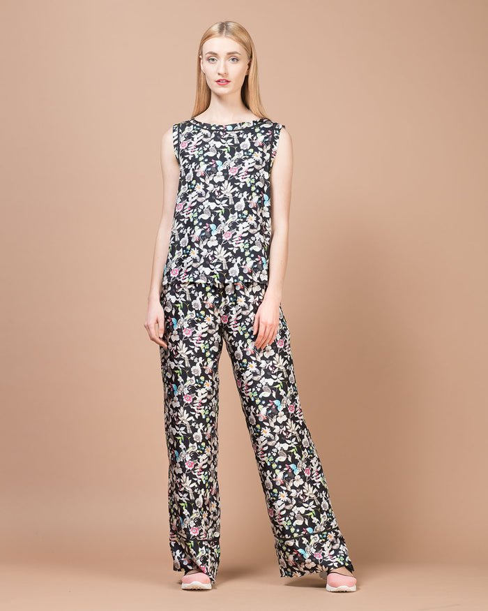 Multicolor Floral Printed Silk Wide Pants