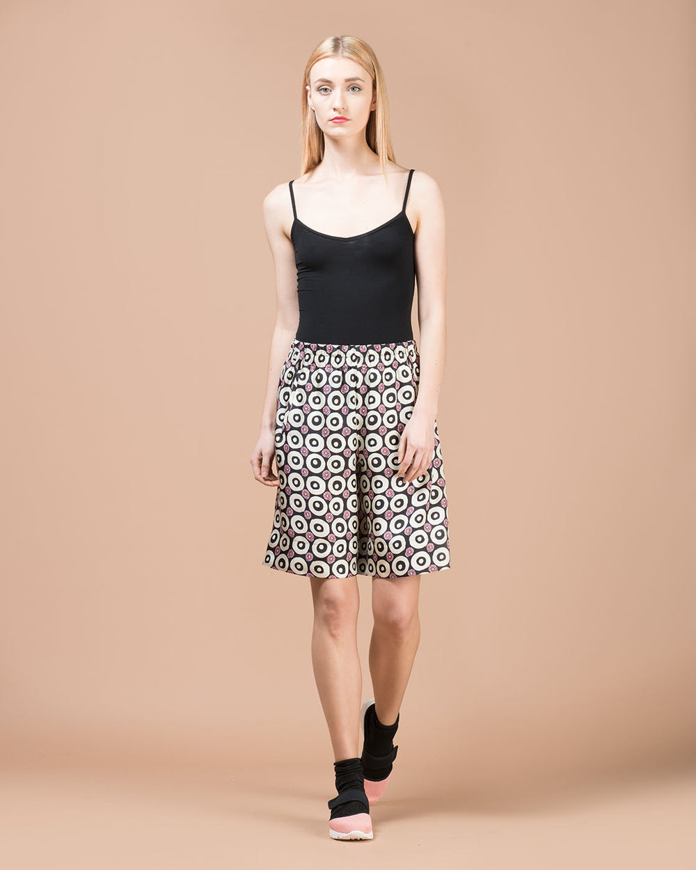 Multicolor Geometrical Printed Silk Shorts