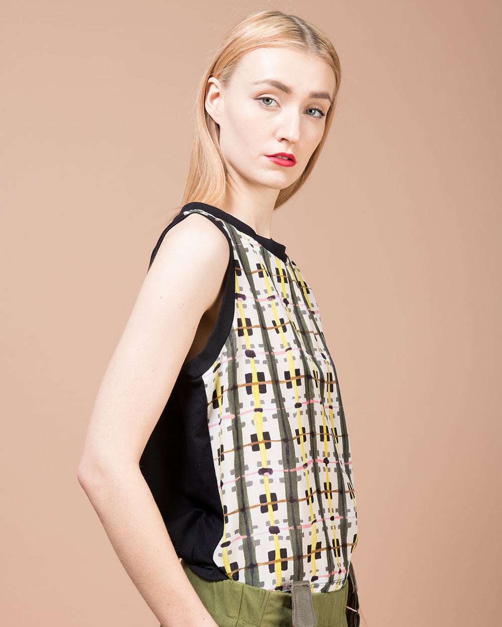 Multicolor Printed Silk Sleeveless Blouse