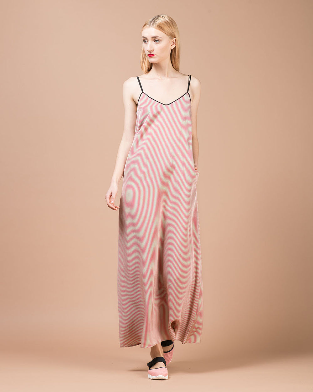 Pink & Beige Striped Long Dress