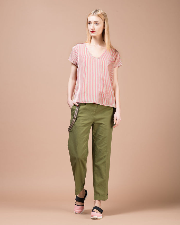Pink & Beige Stripes Twill Blouse