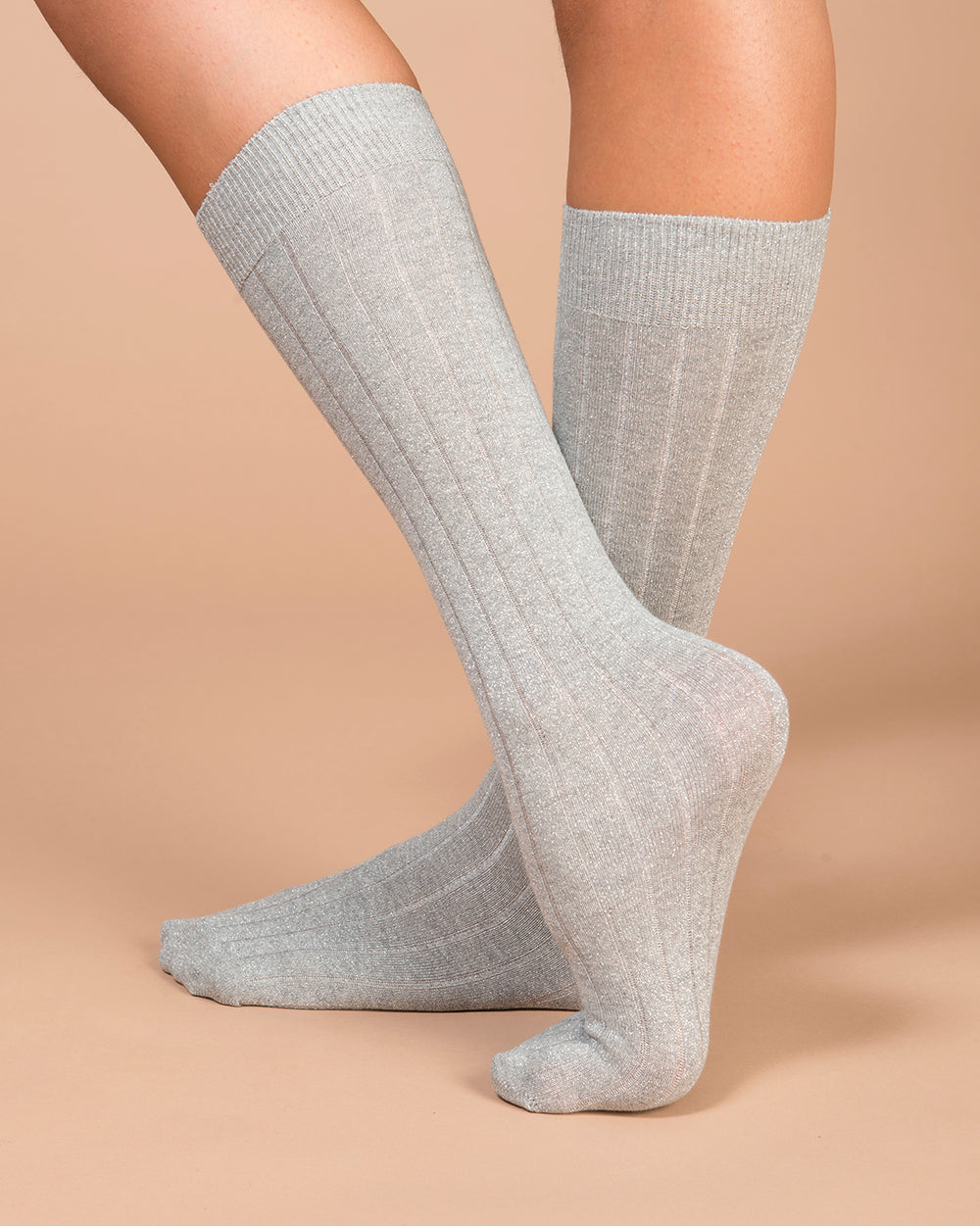 Silver Lurex Flat Ribbed Socks