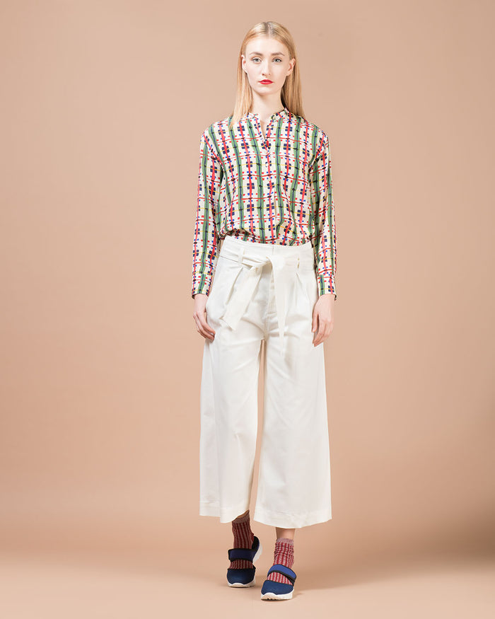 White Gabardine Wide Pants