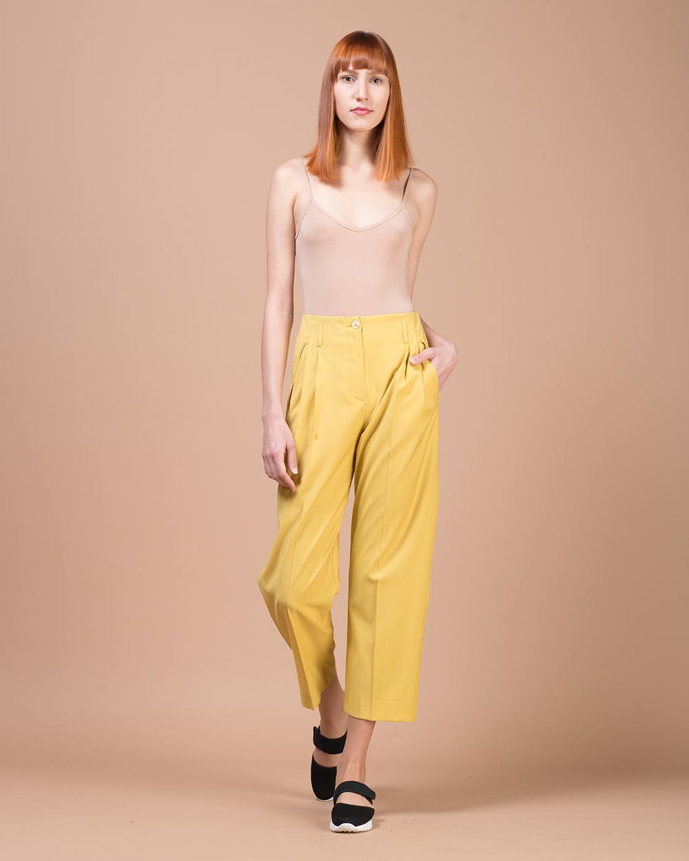 Yellow Slim Wool Pants