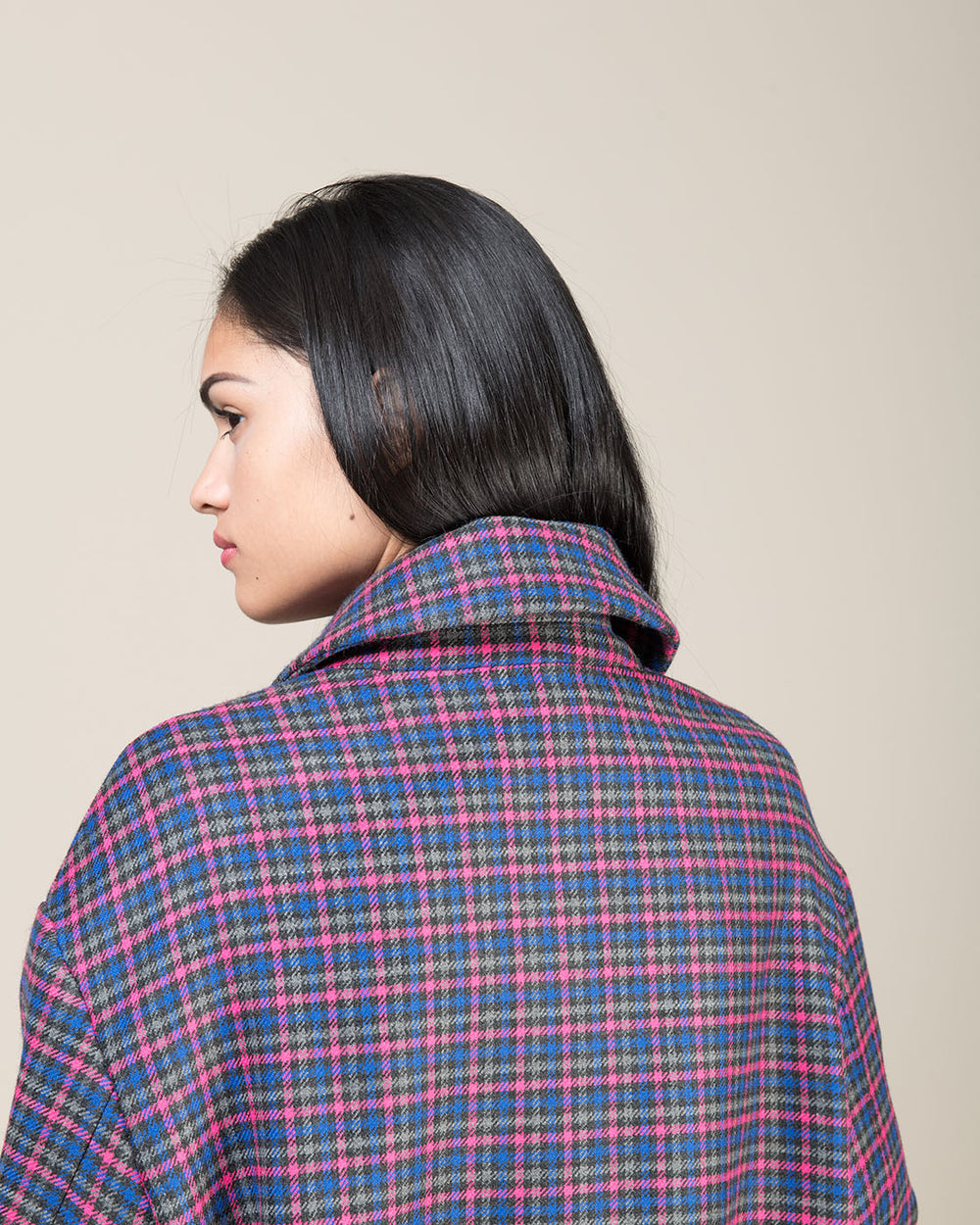 Multicolor Checked Double Breasted Coat