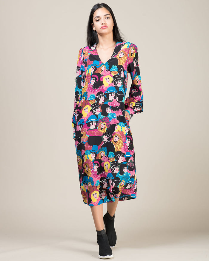 Multicolor Flared Silk Patterned Dress