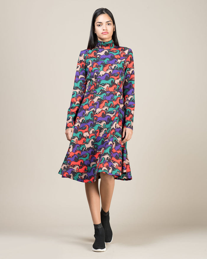 Multicolor Horse Pattern Dress