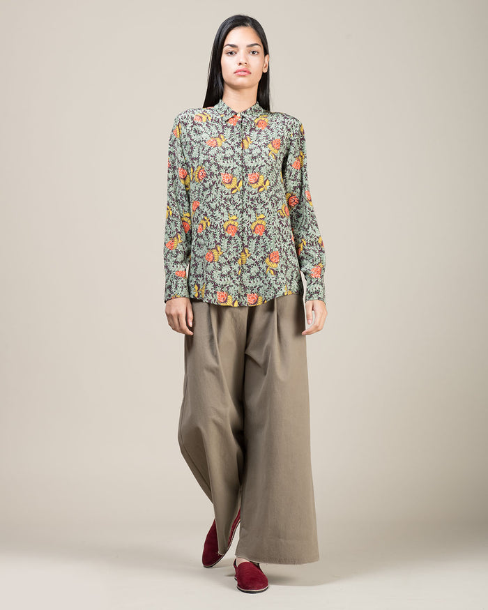 Multicolor Patterned Silk Shirt
