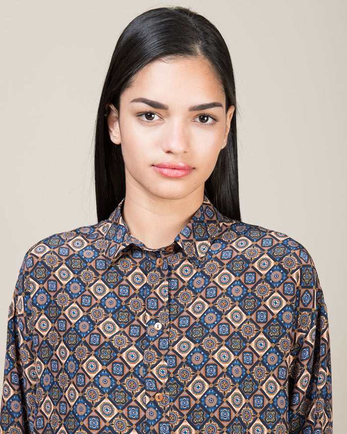 Multicolor Silk Print Shirt