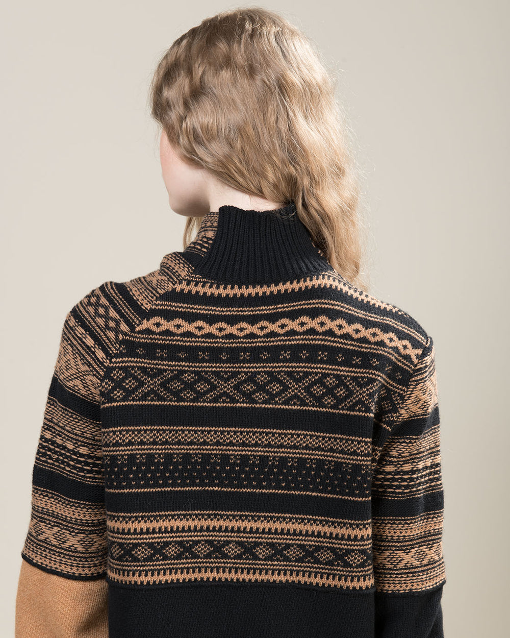 Black and Beige Turtleneck Sweater