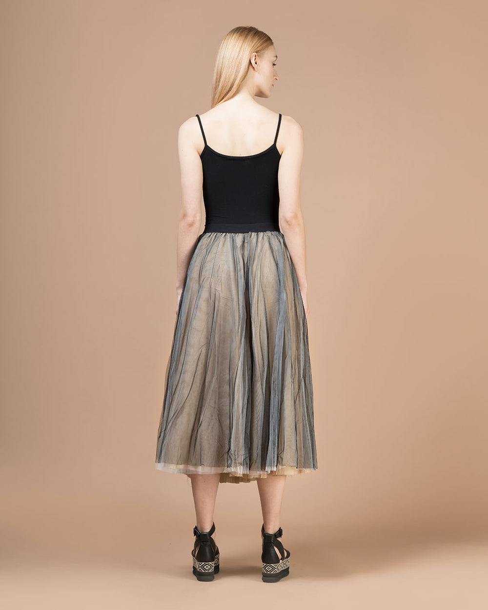 Black & Beige Contrast Tulle Long Skirt