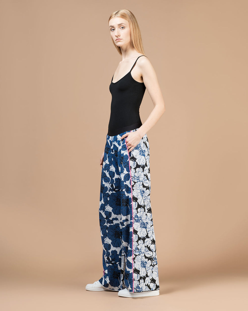 Black & Blue Floral Jacquard Wide Leg Pants