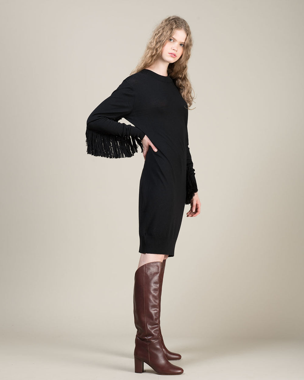 Black Dress with Knit Fringe