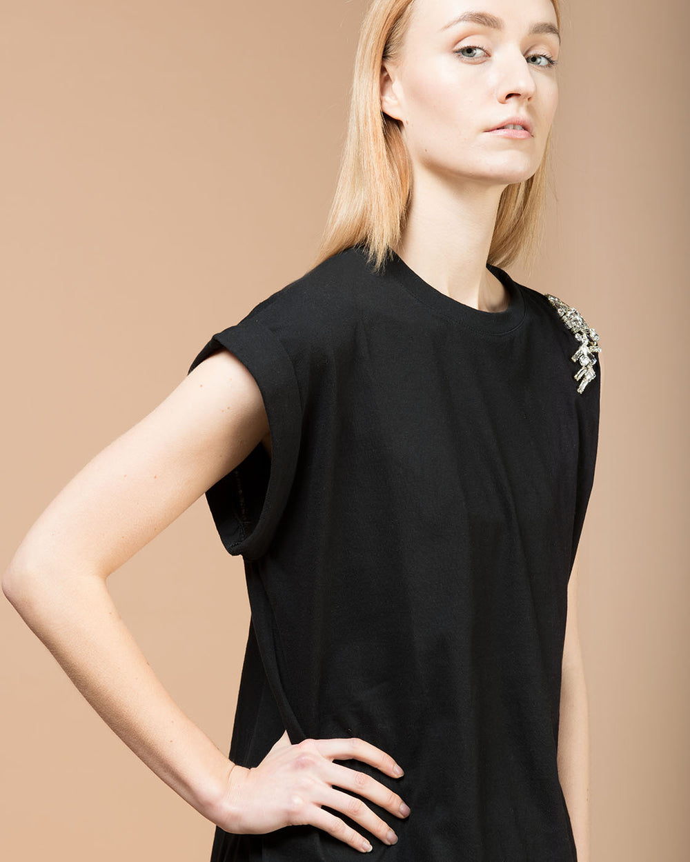 Black Jersey Crystal Embellished T-Shirt