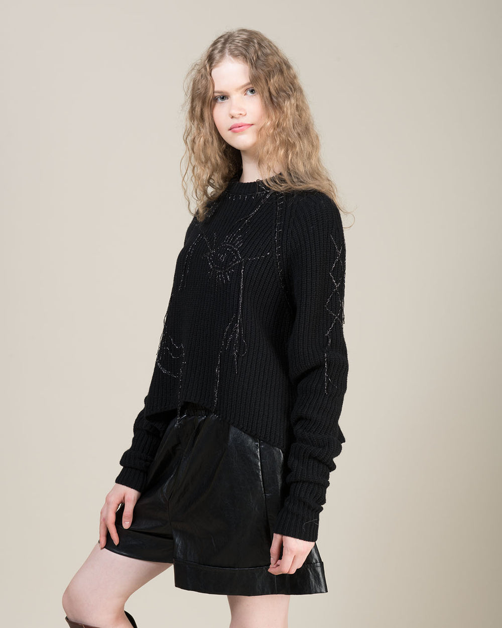 Black Lurex Sweater with Face Design