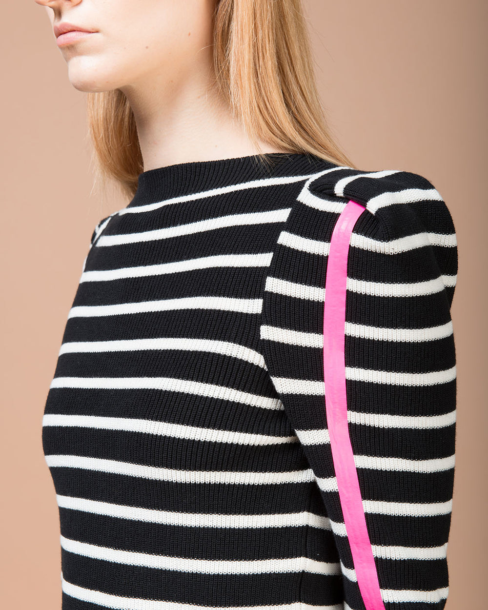 Black & White Striped Boatneck Sweater