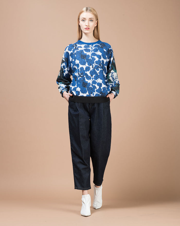 Blue & Black Floral Jacquard Blouse