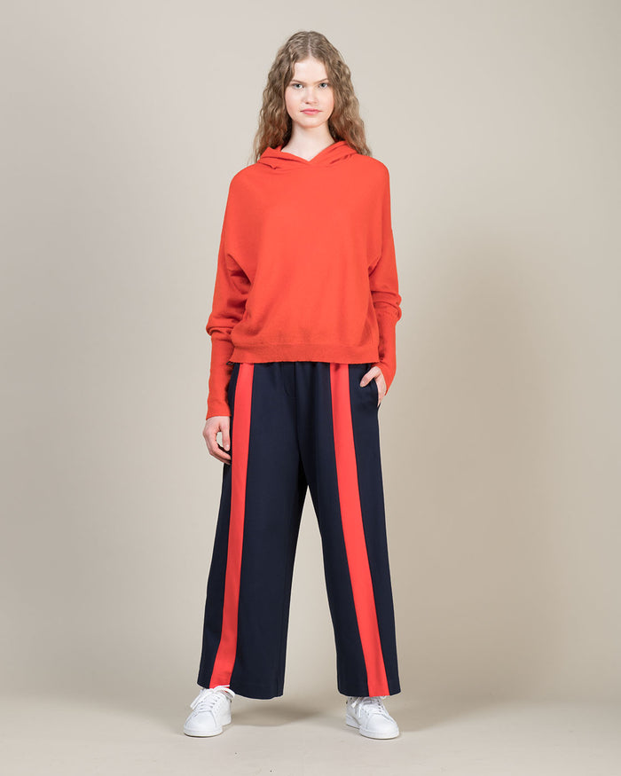 Blue Loose Fit Pants with Orange Contrast Line