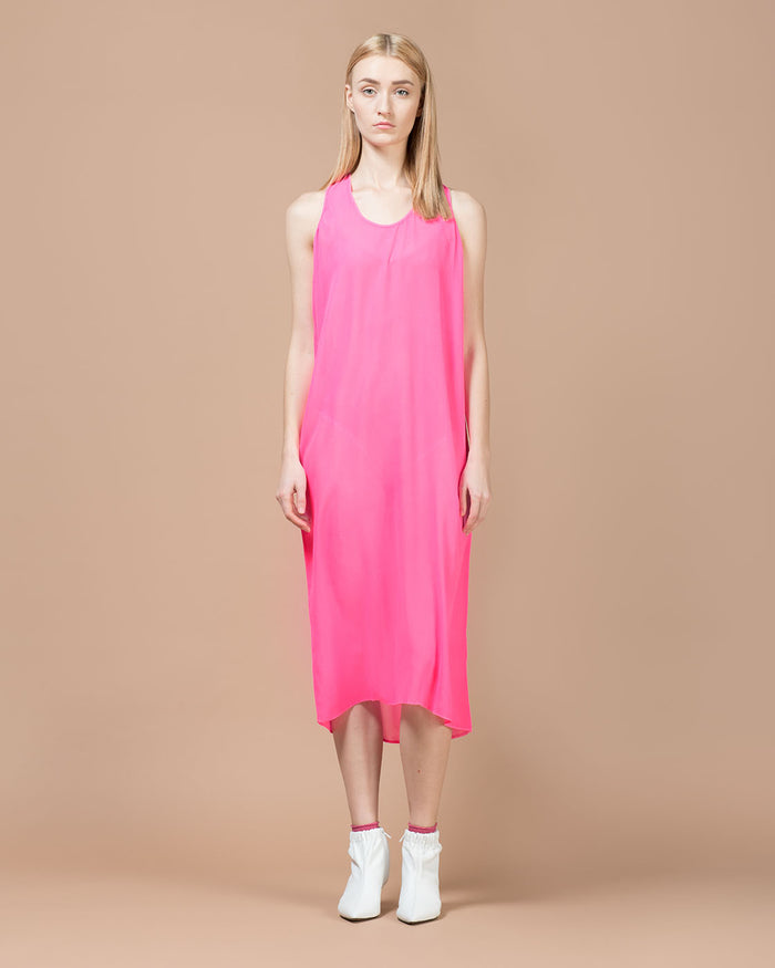 Fuchsia Silk Long Dress