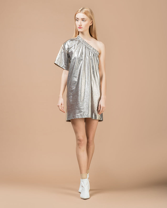 Silver Cotton Linen Short Dress